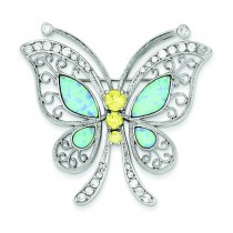 Blue Opal CZ Butterfly Pin in Sterling Silver