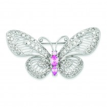 Pink CZ Butterfly Pin in Sterling Silver