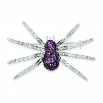 Pink CZ Spider Pin in Sterling Silver