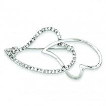 CZ Heart Pin in Sterling Silver