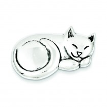 Sleeping Cat Pin in Sterling Silver