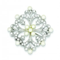 Pearl CZ Pin in Sterling Silver