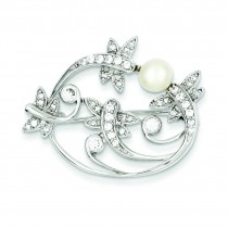 Imitation Pearl CZ Pin in Sterling Silver