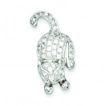 CZ Cat Pin in Sterling Silver