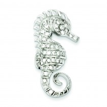 CZ Seahorse Pin in Sterling Silver