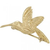 Hummingbird Brooch in 14k Yellow Gold