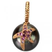 Tahitian Cultured Pearl Sapphire Starfish Lapel Pin in 14k Rose Gold