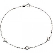 Flower Anklet in Sterling Silver