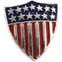 America Shield Of Honor Lapel Pin in 14k White Gold