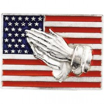 Red White Blue Flag Praying Hands Lapel Pin in Sterling Silver