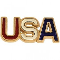 Red White Blue Usa Lapel Pin in 14k Yellow Gold