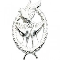Wings Of Remembrance Lapel Pin in Sterling Silver