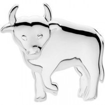 Playful Bull Brooch in Sterling Silver