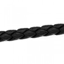Black Braided Leather Cord Chain in 14k Yellow Gold