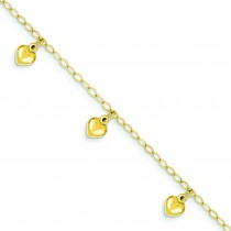 Child Puffed Heart Charm Bracelet in 14k Yellow Gold