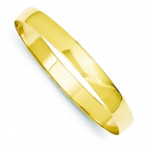 Solid Half Round Slip On Bangle in 14k Yellow Gold