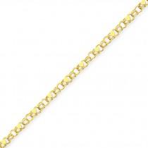 Double Link Heart Charm Bracelet in 14k Yellow Gold