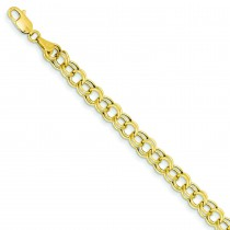 Hollow Double Link Charm Bracelet in 14k Yellow Gold