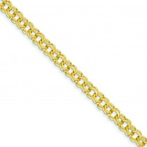 Solid Double Link Charm Bracelet in 14k Yellow Gold