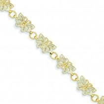 Rhodium Butterfly Bracelet in 14k Yellow Gold