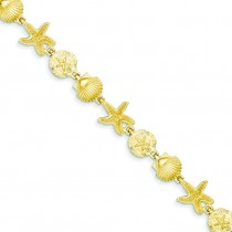 Seashell Theme Bracelet in 14k Yellow Gold