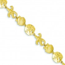 Seashell Theme Bracelet in 14k Yellow Gold