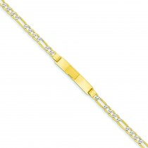 Pave Figaro ID Bracelet in 14k Yellow Gold
