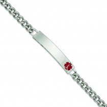 Small Red Epoxy Medical ID Bracelet in Fashion