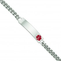 Large Red Epoxy Medical ID Bracelet in Fashion