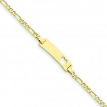Figaro Link ID Plate Heart Bracelet in 14k Yellow Gold