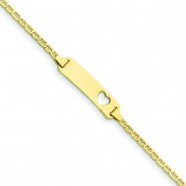 Anchor Link ID Plate Heart Bracelet in 14k Yellow Gold