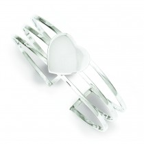 Heart Three StrCuff Bangle Bracelet in Sterling Silver