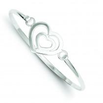 Heart within a Heart Bangle Bracelet in Sterling Silver
