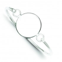 Round ID Plate Bangle Bracelet in Sterling Silver