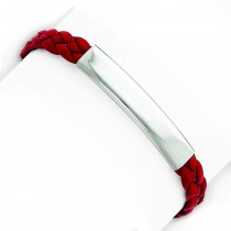 Red Braided Leather Bracelet in Sterling Silver