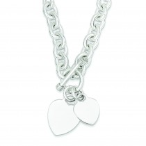 Heart Disc on Link Toggle Bracelet in Sterling Silver