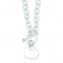 Heart Disc on Link Toggle Bracelet in Sterling Silver