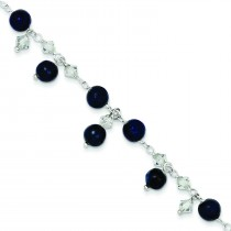 Shadow Crystal Lapis Anklet Bracelet in Sterling Silver