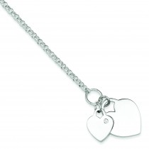 Double Heart CZ Bracelet in Sterling Silver