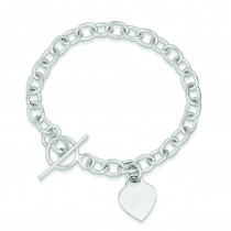 Dangling Heart Charm Bracelet in Sterling Silver