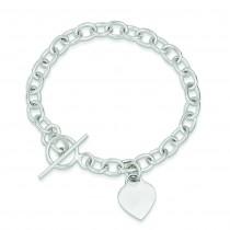 Dangling Heart Charm Bracelet in Sterling Silver