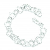 Heart Link Bracelet in Sterling Silver
