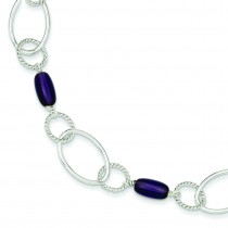 Purple Crystal Fancy Link in Sterling Silver