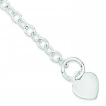 Heart Disc Toggle Bracelet in Sterling Silver