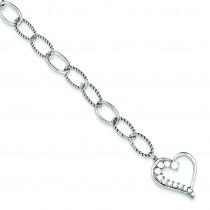 Journey Heart CZ Dangle Bracelet in Sterling Silver
