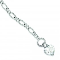 Dangling CZ Heart Bracelet in Sterling Silver