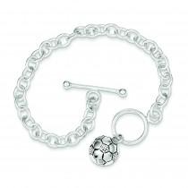 Soccer Ball Bracelet in Sterling Silver