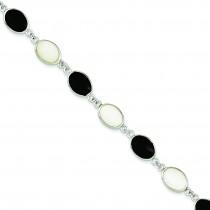 Onyx Mother of Pearl Bracelet in Sterling Silver