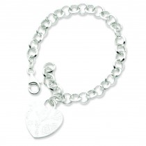 Heart Dangle Bracelet in Sterling Silver