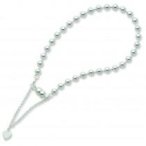 Beaded Dangling Heart Bracelet in Sterling Silver